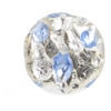 Glass Lamp Bead 12mm Coins Crystal/Silver/Light Sapphire